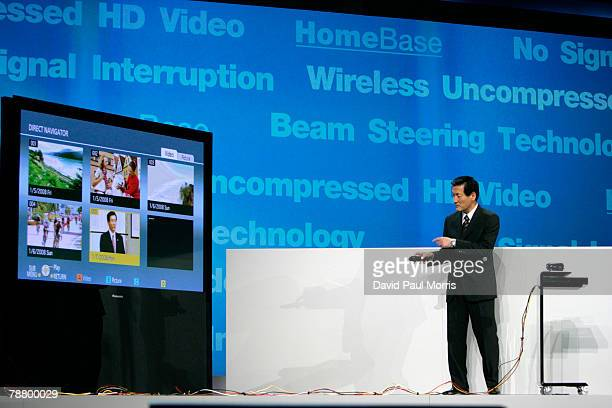 Toshihiro Sakamoto President of Panasonic AVC Networks Company introduces homebase a wireless entertainment systems during a keynote address at the...