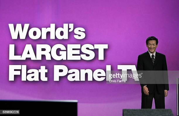 Toshihiro Sakamoto President of Panasonic AVC Networks unveils a 150Inch Plasma display the world's largest flat panel television during his keynote...