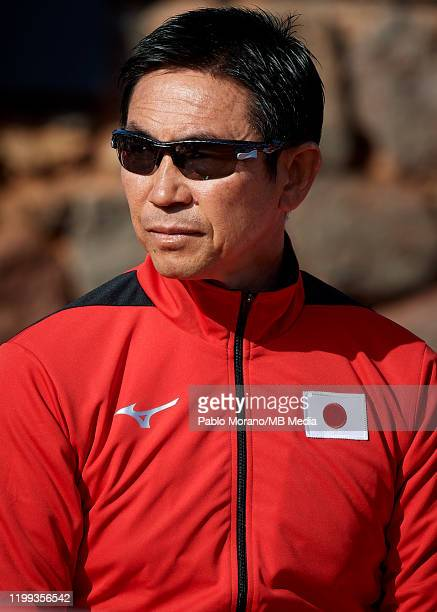 Toshihisa Tsuchihashi looks on during the Fed Cup por BNP Paribas qualifiers second round between Spain and Japan at Centro de Tenis La Manga Club on...