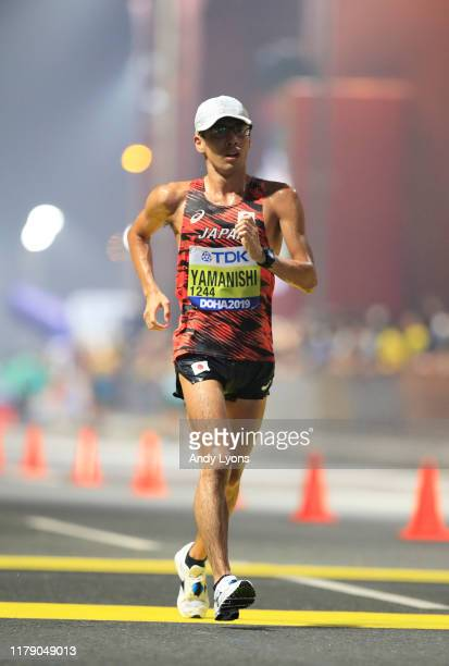 Toshikazu Yamanishi of Japan competes during the 20 Kilometres Race Walk Final during day eight of 17th IAAF World Athletics Championships Doha 2019...