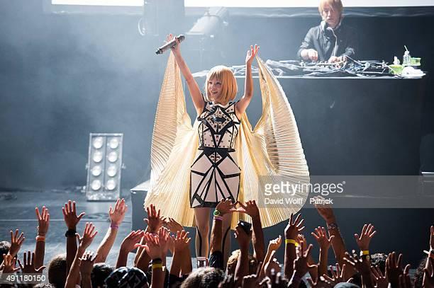 Toshiko Koshijima and Yasutaka Nakata from Capsule perform at Le Trianon on October 3, 2015 in Paris, France.