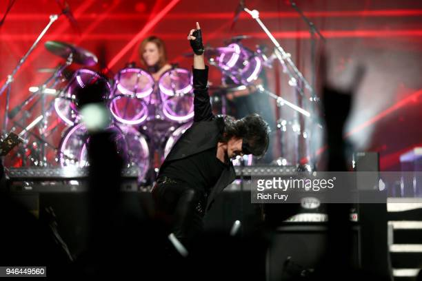 Toshimitsu Deyama of XJapan performs onstage during 2018 Coachella Valley Music And Arts Festival Weekend 1 at the Empire Polo Field on April 14 2018...