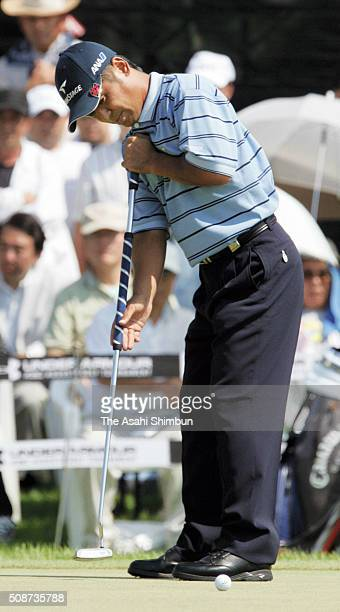Toshimitsu Izawa of Japan holes the winning putt on the 18th green during the final round of the Under Armour KBC Augusta at the Keya Golf Club on...