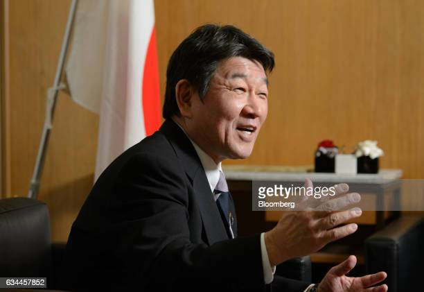 Toshimitsu Motegi, chairman of the Policy Research Council of the Liberal Democratic Party of Japan , speaks during an interview in Tokyo, Japan, on...