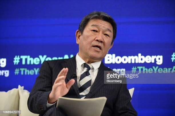 Toshimitsu Motegi, Japan's minister of economy, speaks during the Bloomberg Year Ahead summit in Tokyo, Japan, on Thursday, Dec. 6, 2018. Motegi,...