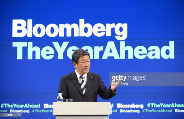 Toshimitsu Motegi Japan's minister of economy speaks during the Bloomberg Year Ahead summit in Tokyo Japan on Thursday Dec 6 2018 Motegi Japans point...