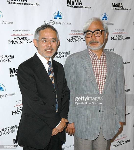 Toshio Suzuki and Hayao Miyazaki during 'Howl's Moving Castle' New York City Premiere at The Museum of Modern Art in New York New York United States