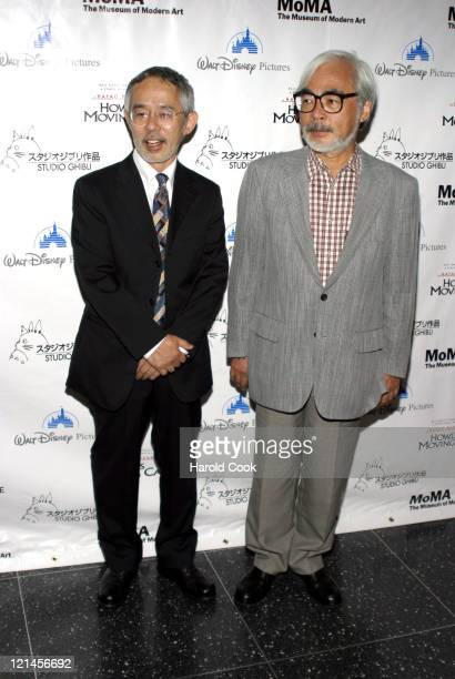 Toshio Suzuki and Hayao Miyazaki during 'Howl's Moving Castle' New York City Premiere at The Museum of Modern Art in New York City New York United...