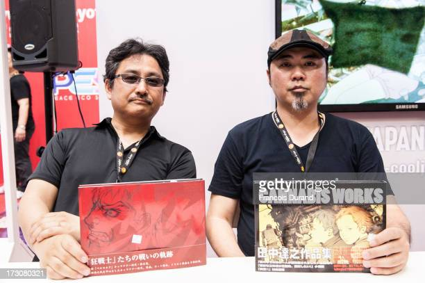 Toshiuki Kubooka and Tatsuyuki Tanaka attend an autograph session at the 'TOYOTA x STUDIO4AC meets ANA PES' booth during the Japan Expo at Parisnord...
