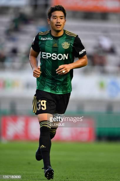 Toshiya TAKAGI of Matsumoto Yamaga looks on during the J.League Meiji Yasuda J2 match between Matsumoto Yamaga and Thespa Kusatsu Gunma at Sunpro...