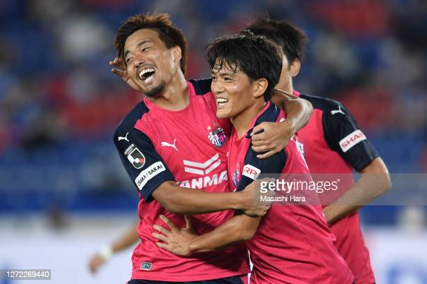 Toshiyuki Takagi of Cerezo Osaka celebrates the second goal during the J.League Meiji Yasuda J1 match between Yokohama F.Marinos and Cerezo Osaka at...