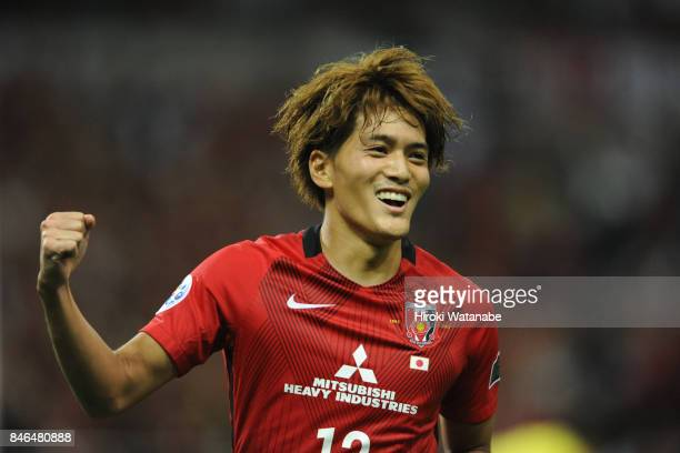 Toshiyuki Takagi of Urawa Red Diamonds celebrates scoring his team's fourth goal during the AFC Champions League quarter final second leg match...
