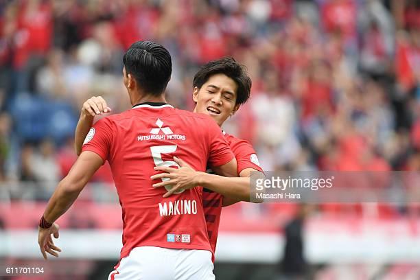 Toshiyuki Takagi of Urawa Red Diamonds celebrates the first goal during the JLeague match between Urawa Red Diamonds and Gamba Osaka at Saitama...