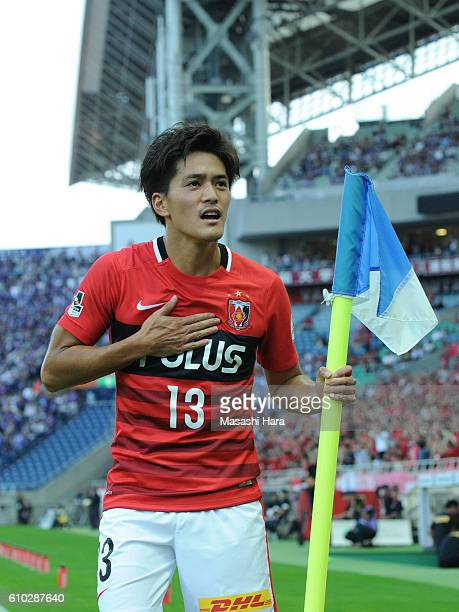 Toshiyuki Takagi of Urawa Red Diamonds celebrates the third goal during the JLeague match between Urawa Red Diamonds and Sanfrecce Hiroshima at the...