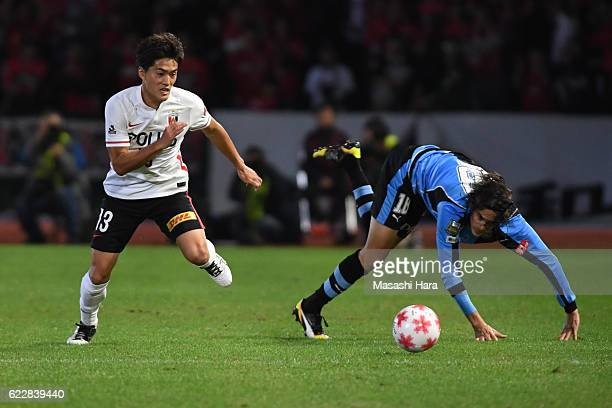 Toshiyuki Takagi of Urawa Red Diamonds in action during the 96th Emperor's Cup fourth round match between Kawasaki Frontale and Urawa Red Diamonds at...