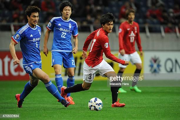 Toshiyuki Takagi of Urawa Red Diamonds in action during the AFC Champions League Group G match between Urawa Red Diamonds and Suwon Samsung FC at...