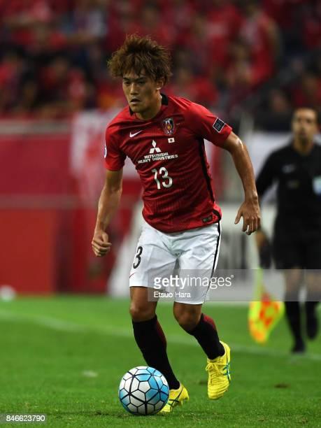 Toshiyuki Takagi of Urawa Red Diamonds in action during the AFC Champions League quarter final second leg match between Urawa Red Diamonds and...
