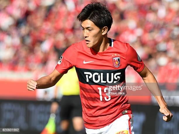 Toshiyuki Takagi of Urawa Red Diamonds in action during the JLeague match between Urawa Red Diamonds and Yokohama FMarinos at Saitama Stadium on...