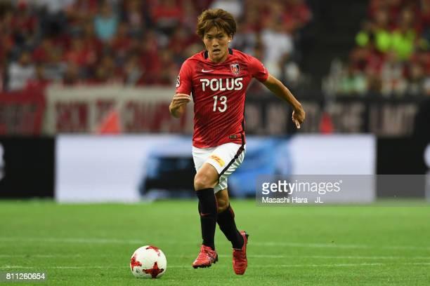 Toshiyuki Takagi of Urawa Red Diamonds in action during the JLeague J1 match between Urawa Red Diamonds and Albirex Niigata at Saitama Stadium on...