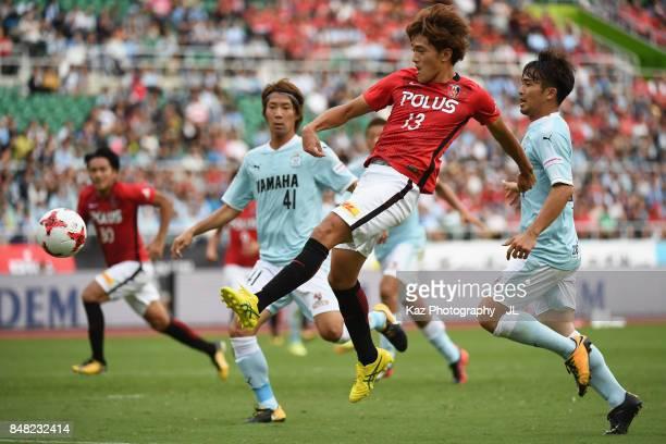 Toshiyuki Takagi of Urawa Red Diamonds shoots at goal during the JLeague J1 match between Jubilo Iwata and Urawa Red Diamonds at Shizuoka Stadium...