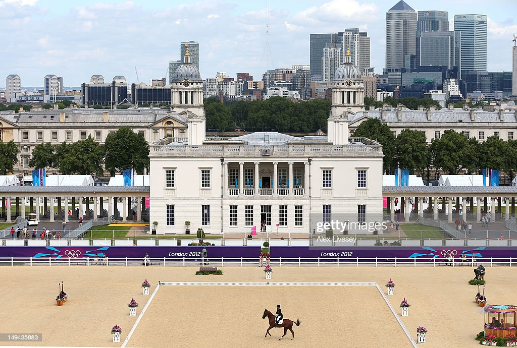 Toshiyuki Tanaka of Japan riding Marquis De Plescop competes in the Dressage Equestrian event on Day 1 of the London 2012 Olympic Games at Greenwich Park on July 28, 2012 in London, England.