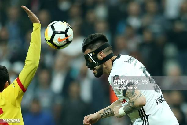 Tosic of Besiktas celebrates with his team mate Negredo after scoring a goal during the Turkish Super Lig soccer match between Besiktas and Goztepe...