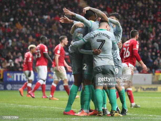 Tosin Adarabioyo of Blackburn Rovers celebrates scoring his side's second goal during the Sky Bet Championship match between Charlton Athletic and...