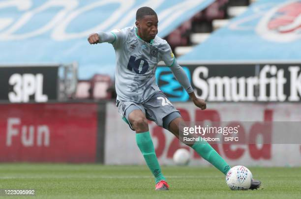 Tosin Adarabioyo of Blackburn Rovers during the Sky Bet Championship match between Wigan Athletic and Blackburn Rovers at DW Stadium on June 27, 2020...