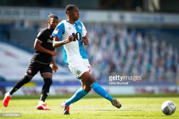 Tosin Adarabioyo of Blackburn Rovers in action with Han-Noah Massengo of Bristol City during the Sky Bet Championship match between Blackburn Rovers...