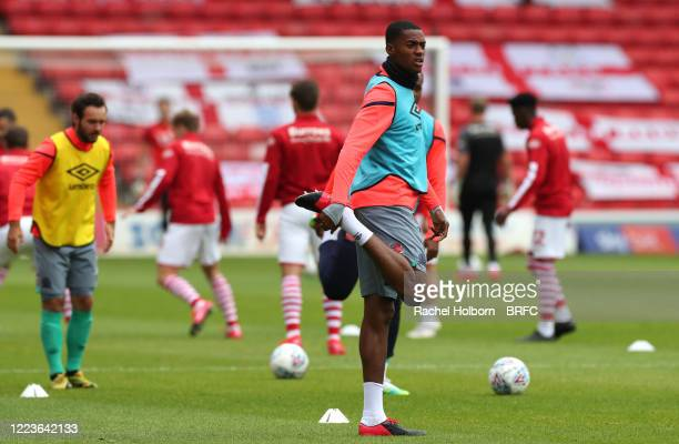 Tosin Adarabioyo of Blackburn Rovers warms up prior to the Sky Bet Championship match between Barnsley and Blackburn Rovers at Oakwell Stadium on...
