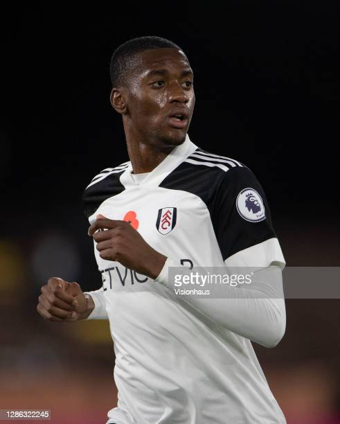 Tosin Adarabioyo of Fulham during the Premier League match between Fulham and West Bromwich Albion at Craven Cottage on November 02, 2020 in London,...