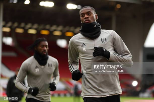 Tosin Adarabioyo of Fulham during the warm up before the Premier League match between Sheffield United and Fulham at Bramall Lane on October 18, 2020...