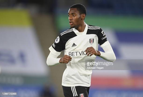 Tosin Adarabioyo of Fulham in action during the Premier League match between Leicester City and Fulham at The King Power Stadium on November 30, 2020...