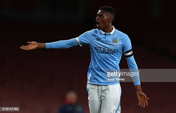 Tosin Adarabioyo of Man City argues with the official during the FA Youth Cup semi-final second leg match between Arsenal and Manchester City at...