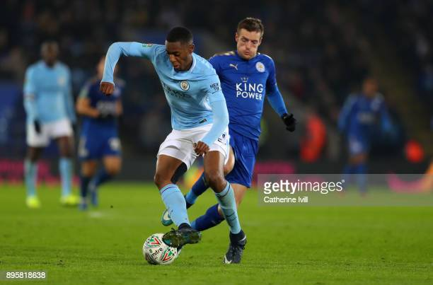 Tosin Adarabioyo of Manchester City and Jamie Vardy of Leicester City during the Carabao Cup Quarter-Final match between Leicester City and...