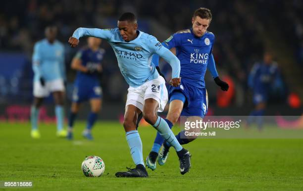 Tosin Adarabioyo of Manchester City and Jamie Vardy of Leicester City during the Carabao Cup QuarterFinal match between Leicester City and Manchester...