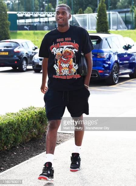 Tosin Adarabioyo of Manchester City arrives at the CFA for the first day of pre-season training at Manchester City Football Academy on July 08, 2019...