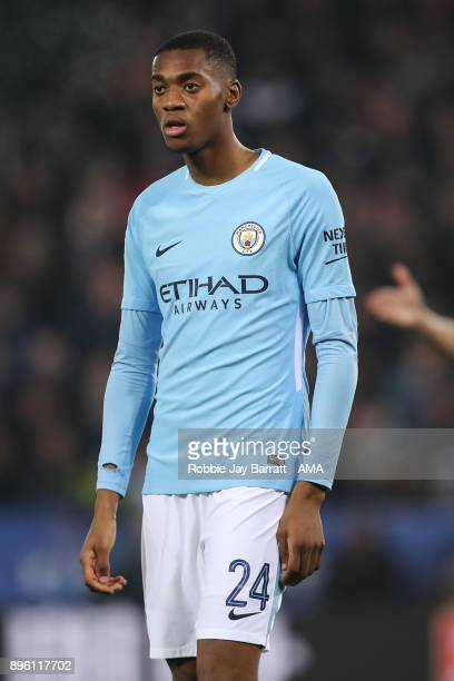 Tosin Adarabioyo of Manchester City during the Carabao Cup QuarterFinal match between here Leicester City v Manchester City at The King Power Stadium...
