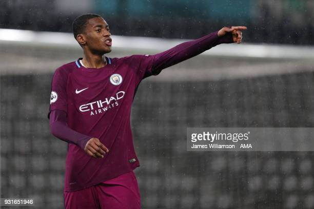 Tosin Adarabioyo of Manchester City during the Premier League 2 match between Derby County and Manchester City on March 9 2018 in Derby England