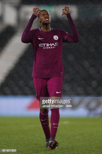 Tosin Adarabioyo of Manchester City reacts during the Premier League 2 match between Derby County and Manchester City on March 9 2018 in Derby England