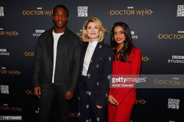 Tosin Cole Jodie Whittaker and Mandip Gill attend Doctor Who screening and qa at the Paley Center for Media on January 05 2020 in New York City