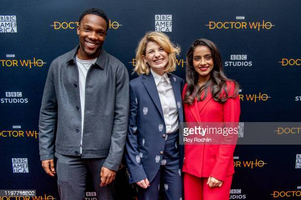 """Tosin Cole, Jodie Whittaker and Mandip Gill attend """"Doctor Who"""" Screening & Panel at The Paley Center for Media on January 05, 2020 in New York City."""