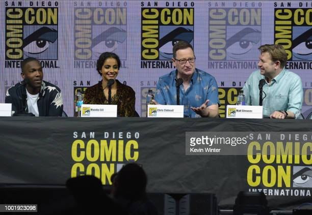 Tosin Cole Mandip Gill Chris Chibnall and Matt Strevens speak onstage during the Doctor Who BBC America's Official panel during ComicCon...