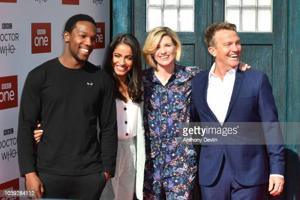 Tosin Cole, Mandip Gill, Jodie Whitaker and Bradley Walsh arrive at the Doctor Who Premiere Screening at The Light Cinema on September 24, 2018 in...