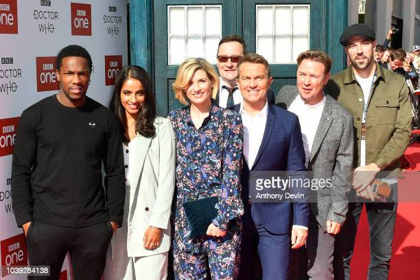 Tosin Cole Mandip Gill Jodie Whitaker Chris Chibnall Bradley Walsh Matt Stevens and Jamie Childs arrive at the Doctor Who Premiere Screening at The...
