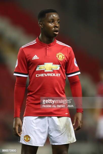 Tosin Kehinde of Manchester United during the Premier League 2 fixture between Manchester United and Liverpool at Leigh Sports Village on October 23...