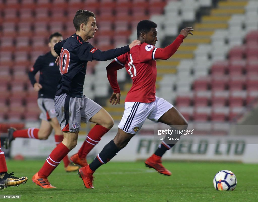 Tosin Kehinde of Manchester United U23s in action during the Premier League International Cup match between Manchester United U23s and Athletic Bilbao U23s at Leigh Sports Village on November 15, 2017 in Leigh, Greater Manchester.