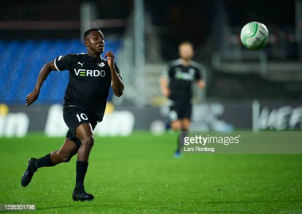 Tosin Kehinde of Randers FC in action during the UEFA Conference League match between Randers FC and AZ Alkmaar at Cepheus Park on September 16, 2021...