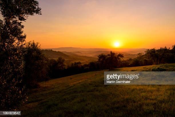 Toskana Landschaft Sonnenuntergang