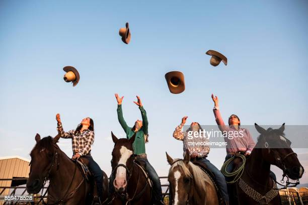 tossing cowbou hat - cowboy hat stock pictures, royalty-free photos & images